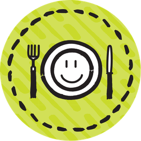 Eating healthily icon - circle 600x600
